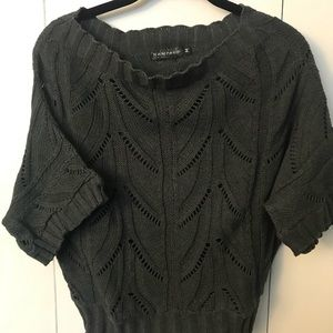 Rampage Cropped Sweater in Dark Gray